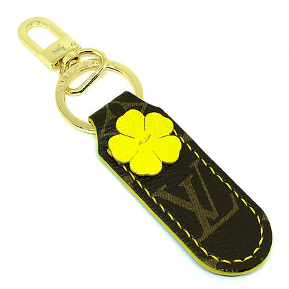 READY-TO-SHIP Upcycled LV Yellow Flower Keychain