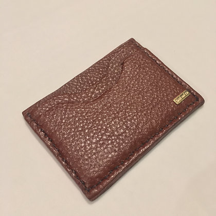 Brown Cowhide Pebbled Minimalist Wallet