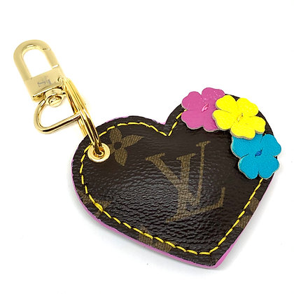Made-to-Order Repurposed Floral LV Puffy Heart