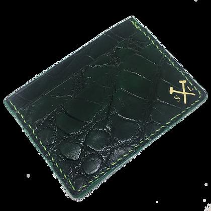 (Original Logo) Forest Green American Alligator Card Holder (READY TO SHIP)