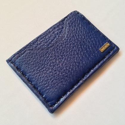 Blue Cowhide Double Pocket Card Holder