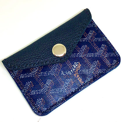 READY-TO-SHIP Navy Blue Goyard Snap Card Holder