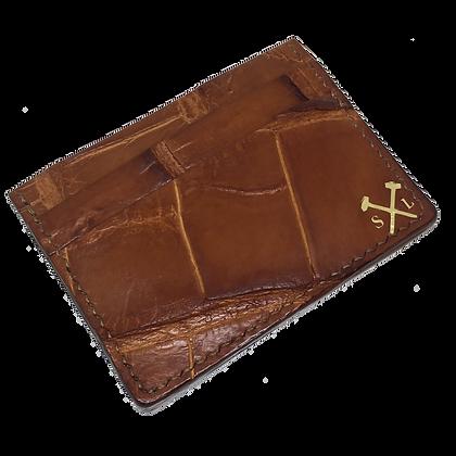 (Original Logo) Cognac American Alligator Card Holder (READY TO SHIP)
