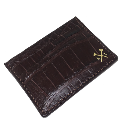 (Original Logo) Chocolate American Alligator Card Holder (READY TO SHIP)