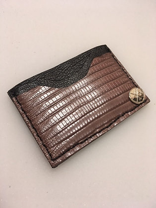 Brown Teju Lizard Minimalist Wallet
