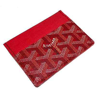 Made-to-Order  Authentic Upcycled Red Goyard Card Holder