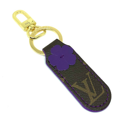 READY-TO-SHIP Upcycled LV Purple Flower Keychain
