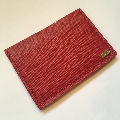 Red Saffiano Minimalist Wallet