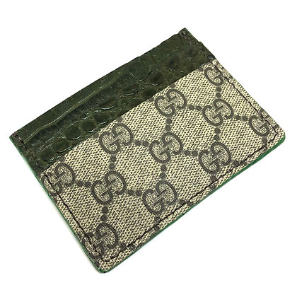 READY-TO-SHIP Upcycled Alligator X GG Card Holder