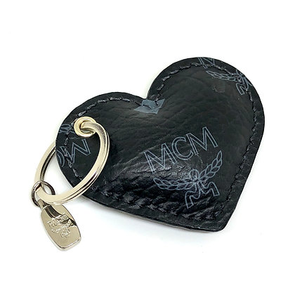 READY-TO-SHIP Upcycled Black MCM Puffy Heart with Hardware
