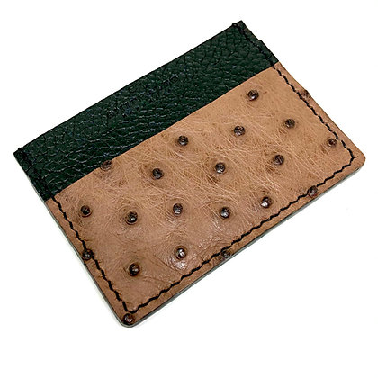 Made-to-Order Genuine Ostrich/Calf Leather Card Holder