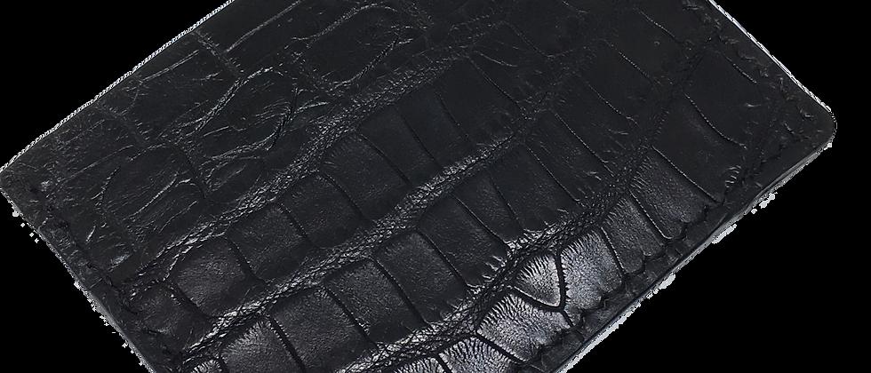 Black American Alligator Minimalist Wallet