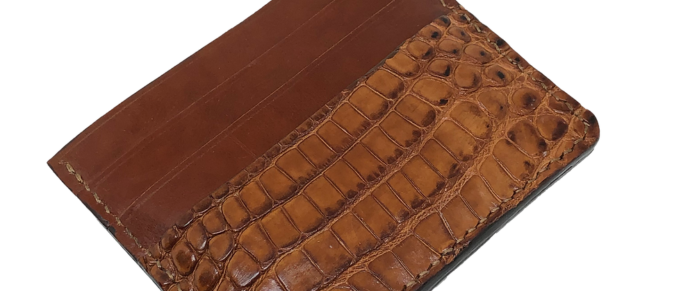 Brown American Alligator Six Pocket Card Holder (READY TO SHIP)