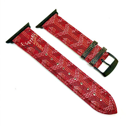 Made-to-Order Upcycled Red Goyard Watch Straps
