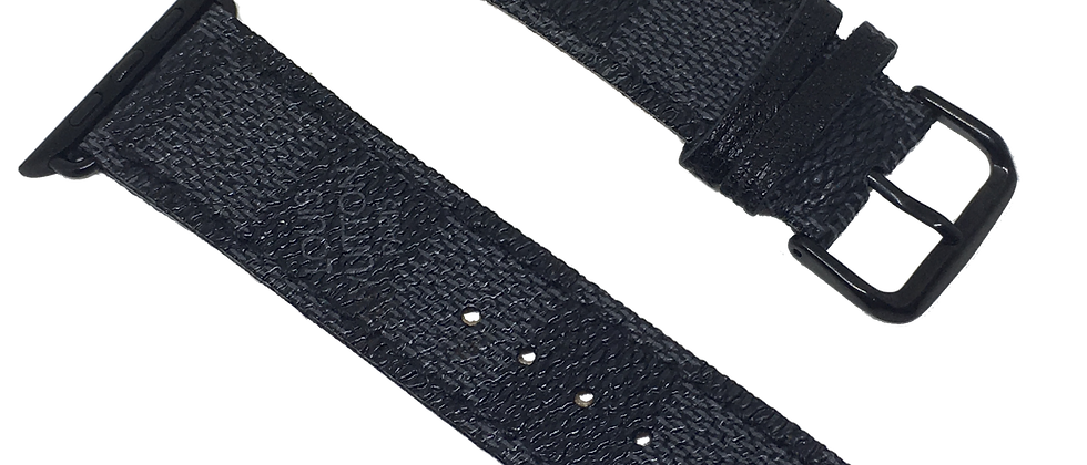Made-to-Order Upcycled Black Damier Apple Watch Straps