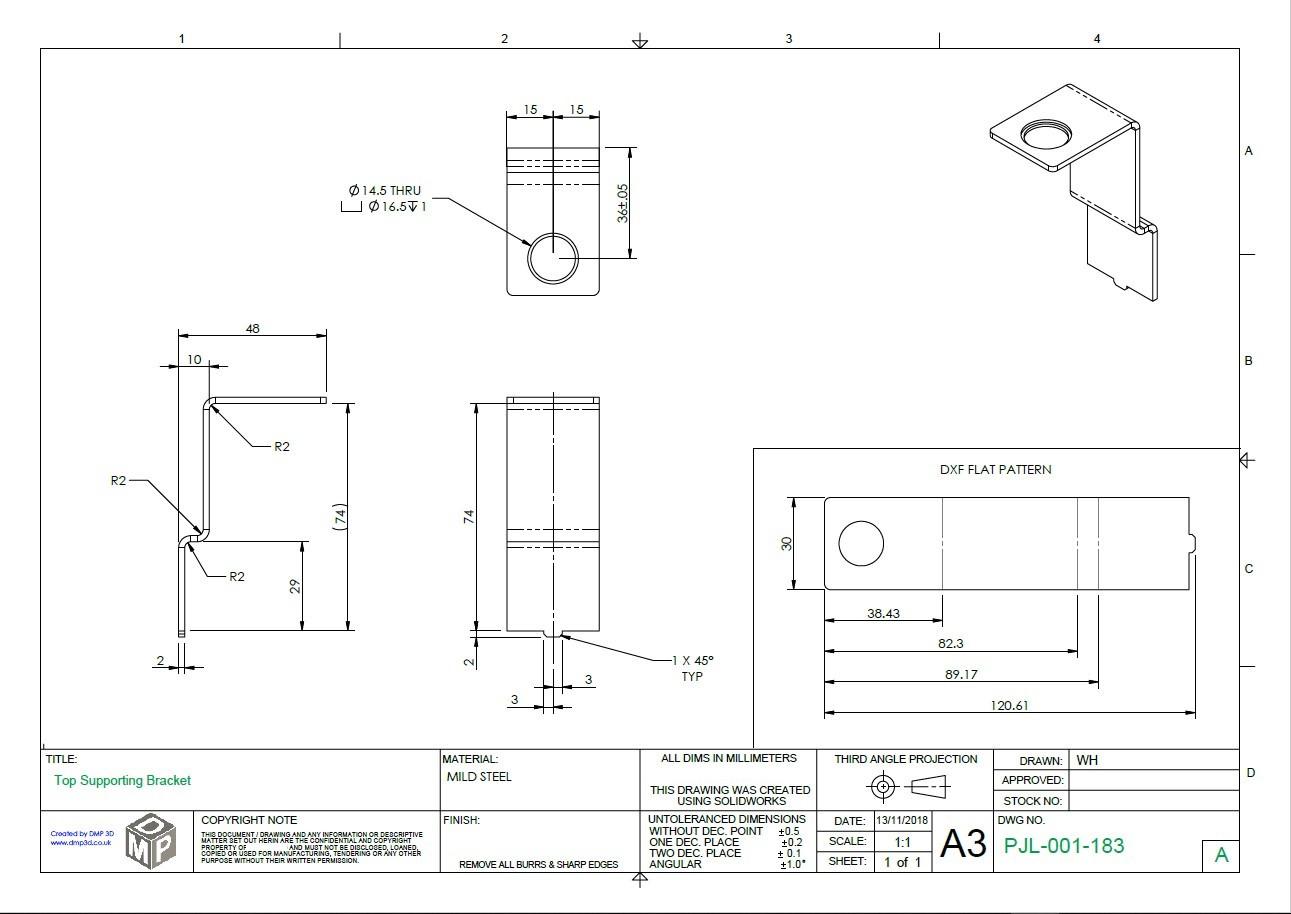 PDF drawing of Sheet metal part