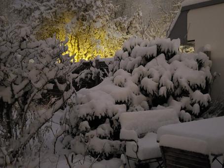 Schnee, der auf eine Jacke fällt
