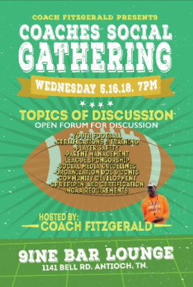 Join us tomorrow for a Coaches Social. Let's discuss positive ways to move together for the benefit of the youth in the Middle Tennessee area.