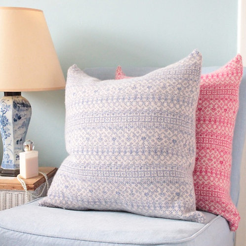 """Blue & Linen 18"""" Knitted Fair Isle Cushion"""