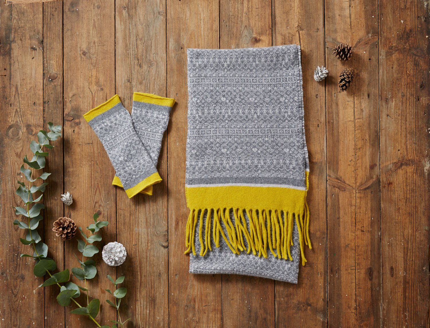 Grey & Yellow Scarf & Mittens