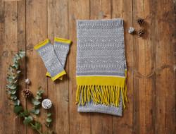 Grey & Yellow Scarf & Mittens
