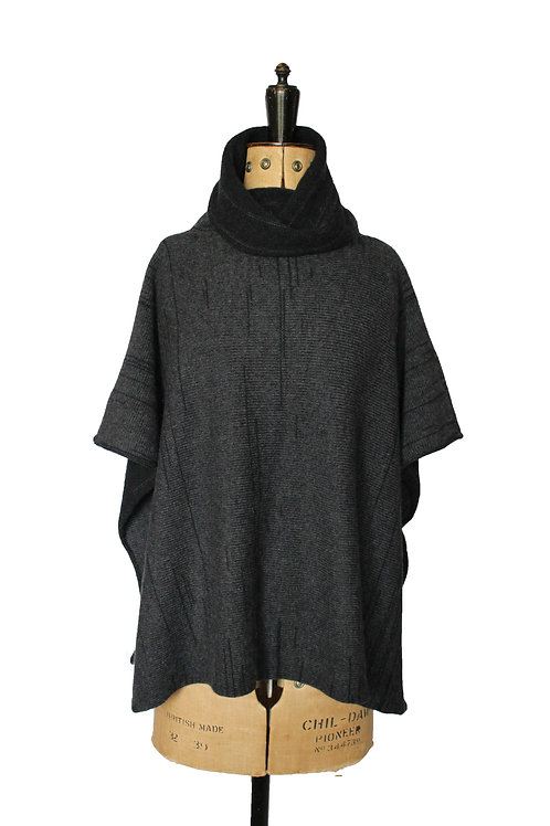 Roll Neck Poncho- Charcoal/Black Marl