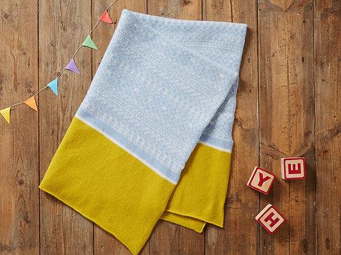 Blue & Mustard Kids & Babies Knitted Blanket