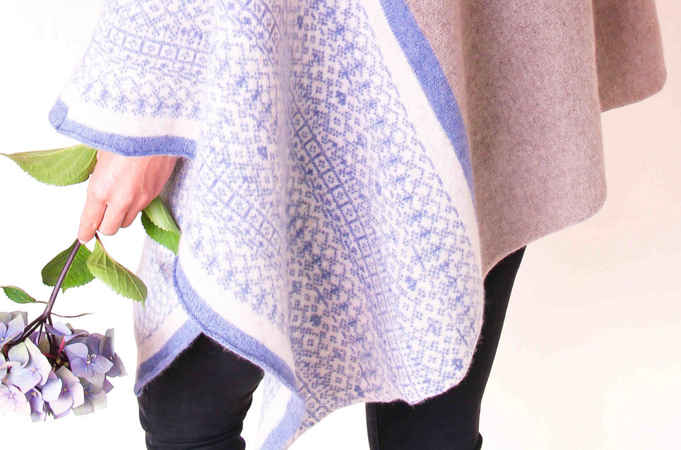 Fair isle block colour poncho