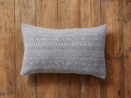 Grey Rectangle Knitted Fair Isle Cushion