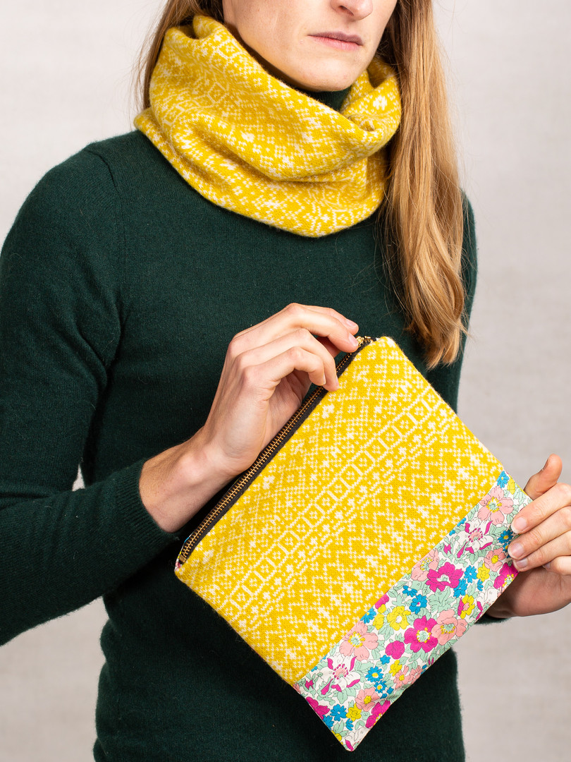 Knit and Liberty print clutch bag