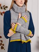 Knitted fair isle fingerless mittens