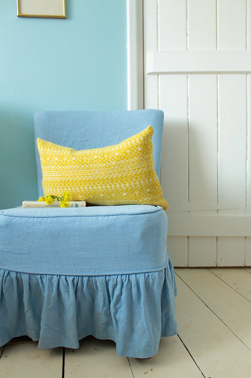 Yellow Rectangle Knitted Fair Isle Cushion