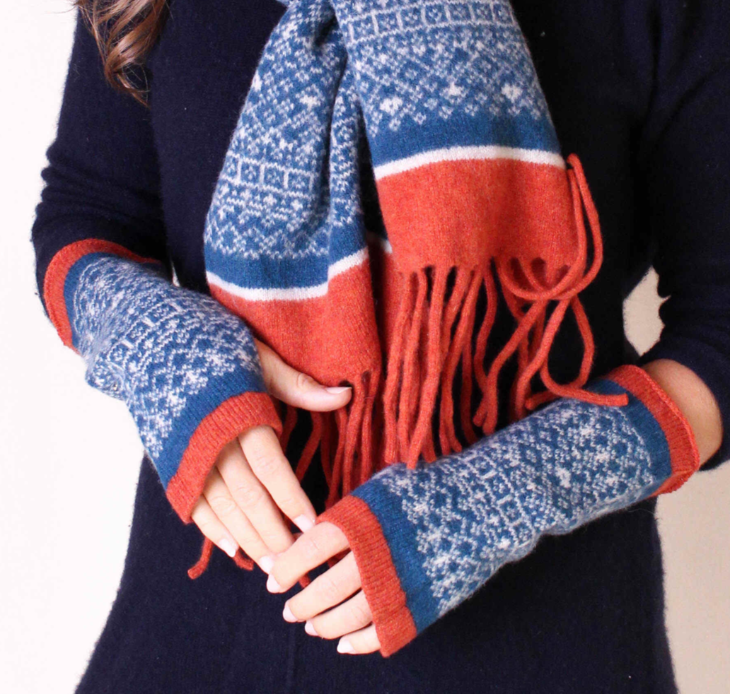 Fair Isle mittens and tassel scarf