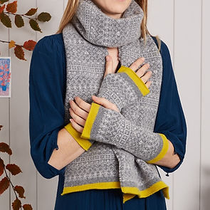 grey yellow fingerless mittens, wool wrist warmers