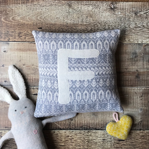 Personalised cushion grey and white