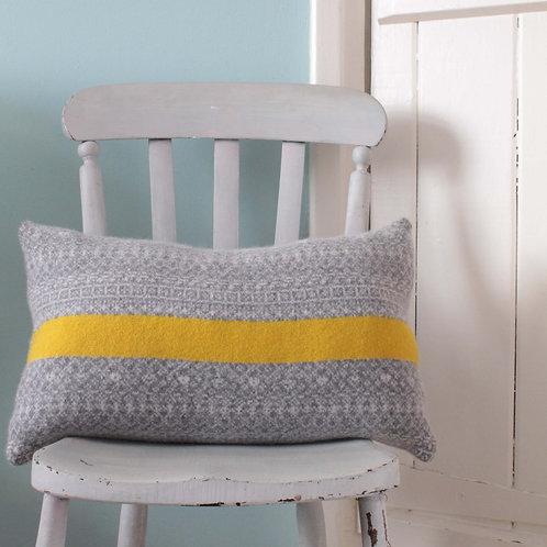 Yellow Stripe, Grey Rectangle Fair Isle Cushion