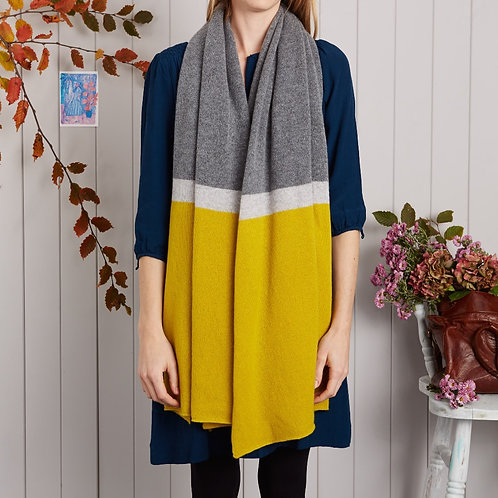 Grey & Yellow Block Stripe Wrap Scarf