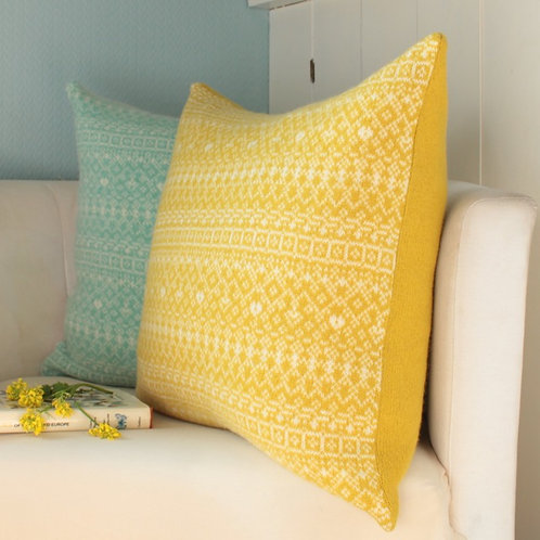 "Yellow/White 18"" Cushion Knitted Fair Isle"