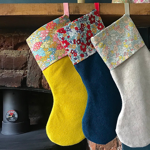 Pre-Order ** Knitted Christmas Stocking with Liberty Print Trim