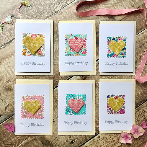 Set of 6 Happy Birthday Heart with Liberty PrintCard