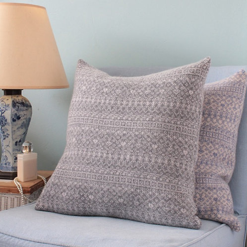 "Grey Mix 18"" Knitted Fair Isle Cushion"