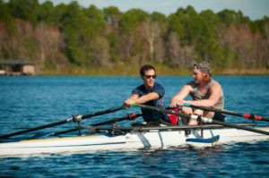 JR, a Bilateral Amputee, is seen here kayaking with a friend on the open water wearing both of his artificial limbs. He is living an active and happy life despite the trauma he has gone through.