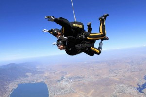 Zakya, a Below the Knee Amputee is pictured here experiencing life to the maximum. She is sky diving while wearing the prosthetic limb made by SCP.