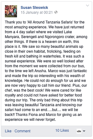 Review of Tanzanian Safari Africa