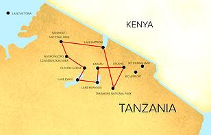 Safari Tour Map  | All Around Tanzania Safaris