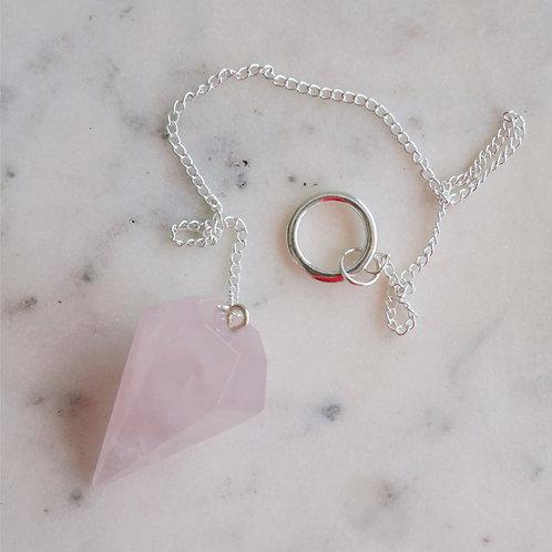 Rose Quartz Faceted Pendulum