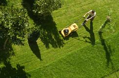 Mann, der Rasen mäht