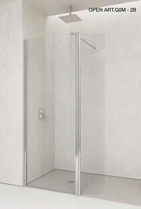 OPEN ART.Q0M - 2B  Caratteristiche:  Altezza box:195 cm  Spessore Cristallo:6 mm  Estensibilità:100 - 120  Dimensione Piat
