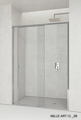 box doccia Porta scorrevole con sistema di scorrimento su cuscinetti a sfera, profilo di contenimento inferiore, cristallo te