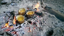 primitive cooking on fire